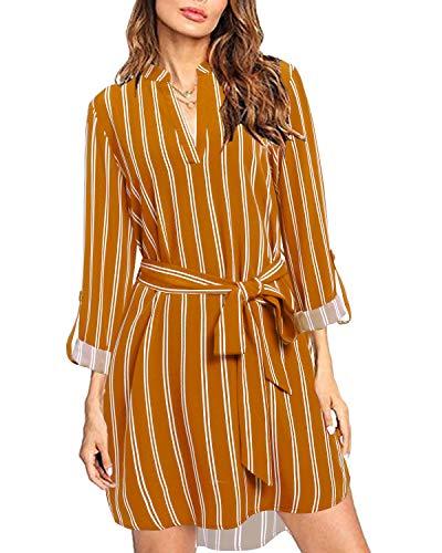 kenoce Blusa Vestidos para Mujer Cuello en V Plaid Camisa Suelta de Manga Larga Vestidos Casual Túnica Larga Tops F-Amarillo S