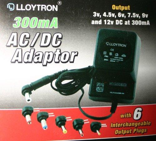 LLOYTRON Universelles AC / DC-Netzteil 300MA 3 / 4.5 / 6 / 7.5 / 9/12 VOLT