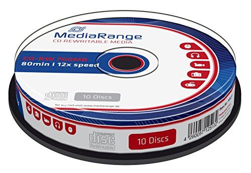 MediaRange MR235 CD en Blanco CD-RW 700 MB 10 Pieza(s) - CD-RW vírgenes (CD-RW, 700 MB, 10 Pieza(s), 80 min, 12x, Caja para Pastel)
