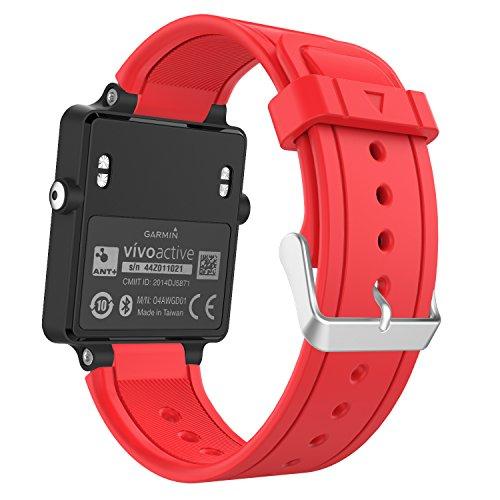 MoKo Sport Armband für Garmin Vivoactive/Vivoactive Acetate - Silikon Ersatz-Uhrenarmband Uhrenarmband Einstellbar Armband Replacement Wechselarmband Watch Band, Rot