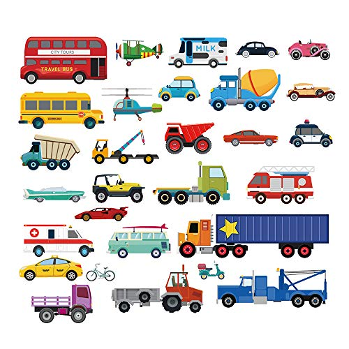 Decalmile Cars Wall Stickers Transports Kids Room Wall Decor Peel and Stick Wall Decals for Boys Children's Room Nursery Bedroom Classroom New Hampshire