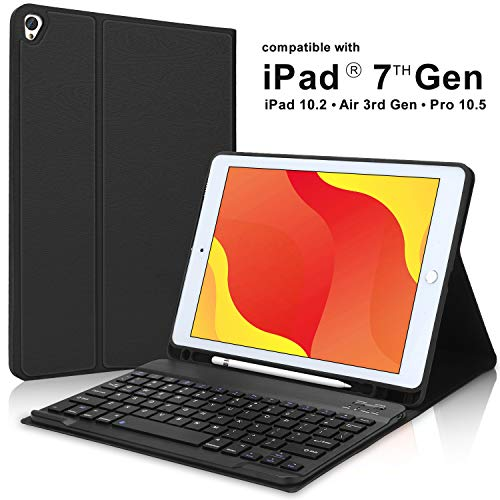 New iPad 7th Generation Case with Keyboard and Pencil Holder for iPad 10.2 Gen 7, iPad Air 10.5 3rd Gen, iPad Pro 10.5-Smart Detachable Bluetooth Keyboard-Slim Leather Folio Cover(Black)