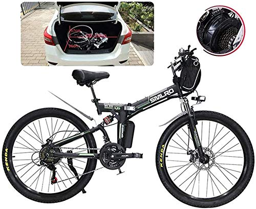 RDJM Electric Bike, Adult Folding Electric Bikes Comfort Bicycles Hybrid Recumbent/Road Bikes 26 Inch Tires Mountain Electric Bike 500W Motor 21 Speeds Shift for City Commuting Outdoor Cycling Travel