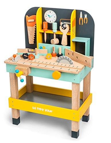 Le Toy Van – Autos & Baustelle-Spielset Alexs Werkbank aus Holz | Lustiges Heimwerkerset für Rollenspiel | Holzwerkzeuge-Rollenspiel für Kinder – Geeignet für Kinder ab 3 Jahren