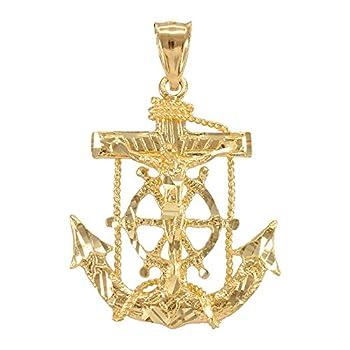 Men s Fine Jewelry Solid 10k Yellow Gold Mariner Crucifix Anchor Cross Pendant