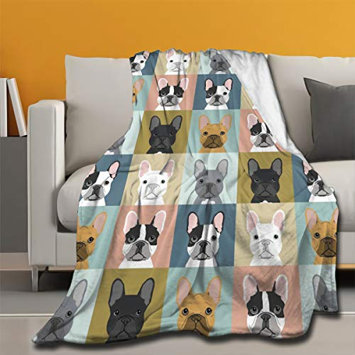 ARRISUM Cute French Bulldog Micro Fleece Blankets Super Soft Cozy Couch Throw Blanket for Home Bedding Living Room All Seasons 60 X 50 Inch for Teens