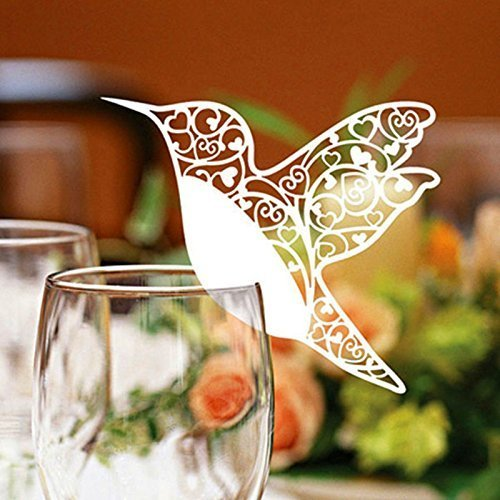 Asien Pack of 50 Laser cut ivory Hummingbird Name Place Cards for Wine Glass
