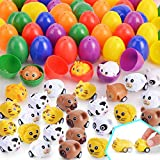 DraMosary 54pcs Kids Easter Eggs Toys Cars Set, 27pcs Animal Pull Back Cars(9 styles) + 27pcs Colorful Plastic Easter Eggs(6 colors) Fillable for Easter Hunt, Basket Stuffers Fillers, Classroom Prize Supplies, Filling Treats and Easter Theme Party Favor