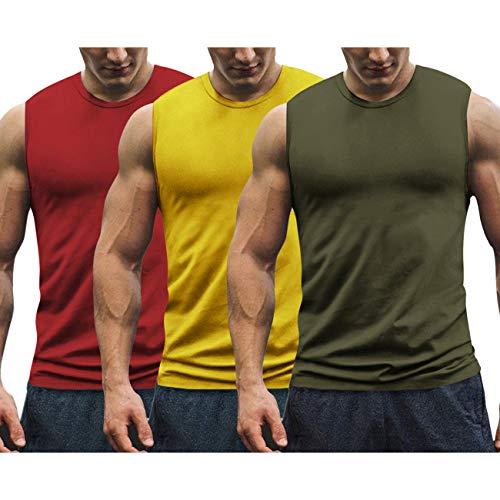 COOFANDY Camiseta de Entrenamiento para Hombre Camiseta de Gimnasio sin Mangas Camiseta sin Mangas de Culturismo Paquete de 3 Camisetas Deportivas musculosas