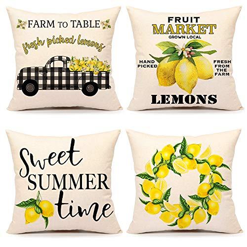 4TH Emotion Summer Lemon Farmhouse Zitat Throw Pillow Covers Buffalo Truck Cushion Case for Sofa Couch 40,6 x 40,6 cm Cotton Linen 4er Set