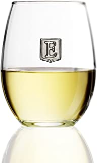 Personalized Stemless Wine Glass - Novelty Gift - Pick Your Letter Crest (E, 15 oz)