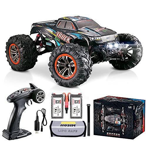 Hosim Hobby Grade 1:10 Scale Large Size RC Cars, 46+ KMH High Speed All Terrains Electric Toy Off Road RC Monster Truck Vehicle Car for Boys and Adults for 16+ Min Play(Blue)