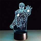 Iron Man 3D Night Light LED Control remoto de luz que cambia de color colorido e interruptor táctil para regalos de cumpleaños y regalos de vacaciones