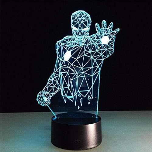 Iron Man 3D Night Light LED Telecomando con luce colorata che cambia colore e interruttore tattile per regali di compleanno e regali di festa