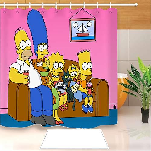 zhanghui2018 Hochwertiger Anime Die Simpsons 3D-Druck Duschvorhang Polyester Stoff Badvorhang Wasserdichter Haken Badvorhang