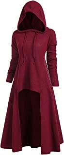 Leomodo Women Gothic Pullovers Hooded High Low Drop Shoulder Longline Sweater