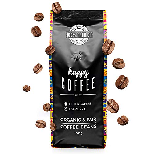 HAPPY COFFEE Bio Espressobohnen 500g [Chiapas] I Frische fair-trade Kaffeebohnen direkt aus Mexiko I Arabica Kaffee ganze Bohnen I Ideal für Vollautomat und Siebträger