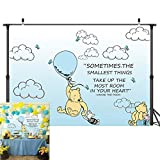 Wininie The Pooh Photography Background Light Blue Hot Air Kids Baby Shower Birthday Party Backdrops White Clounds Butterfly Newborn Photo Studio Booth Props Banner Vinyl 5X3FT