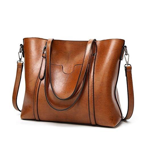 FGHFDR Ladies handbag Women Bag Oil Wax Women'S Leather Handbags Lady Hand Bags With Purse Pocket Women Big Tote Bag