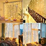 Luces de cortina de ventana de 3x1.5m, HEKIWAY 200 LED Luces de hadas Blanco...