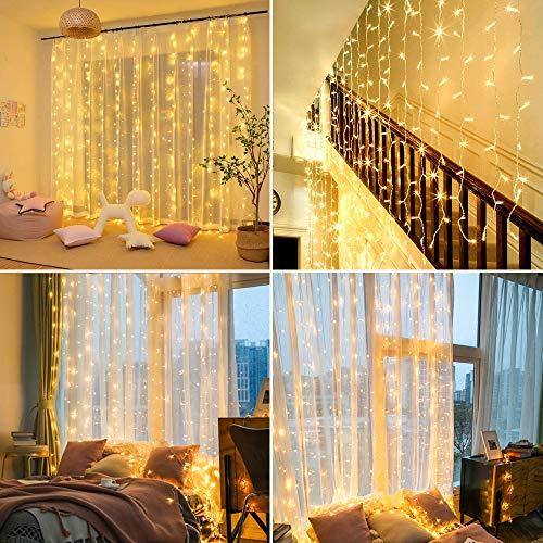Luces de cortina de ventana de 3x1.5m, HEKIWAY 200 LED Luces de hadas Blanco cálido, Control remoto con USB o con pilas, Luces de cuerda resistentes al agua 8 modos para interiores y exteriores