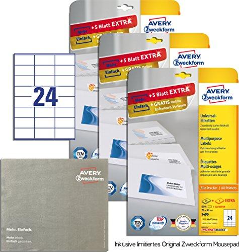 AVERY Zweckform 3490 Adressetiketten (A4, 1800 Plus 360 Etiketten extra, 70 x 36 mm) 30 Blatt, weiß [ Promo Pack ] inklusive GripCleaner 4 in 1 Mousepad