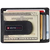 Alpine Swiss Dermot Mens RFID Safe Money Clip Front Pocket Wallet Leather Comes in Gift Box Charcoal