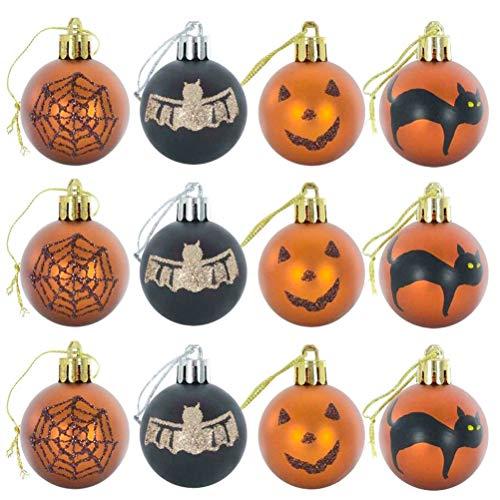 J-ouuo 12 piezas de adornos de bola de Halloween irrompibles para decoracin de Halloween