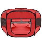 Paws & Pals Playpen for Pets Puppy, Dog, Cat Guinea Pig, Rabbit  Portable Pop Up Exercise Kennel Tent Indoor/Outdoor Pen  Foldable Travel Ready w/Carry Bag - Red