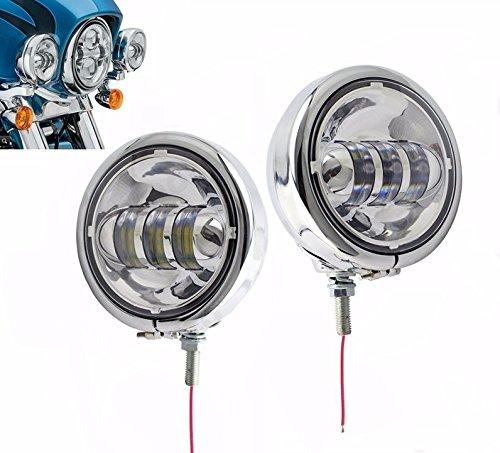 4,5' fari a LED per fendinebbia Faro ausiliare classico per passaggio da 4-1/2 pollici e supporto di montaggio, anello intorno, accessori per moto (4 pezzi)
