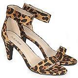 Bella Marie Elysa Women's Open Toe Ankle Strappy Heel Sandal Loop Leopard 8
