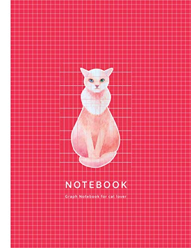 Notebook : Graph Notebook, For Cat Lover: Pink Cat Watercolor Cover, Quad Grid Ruled 5 squares per inch. Soft Matte Cover, 8.5*11 inch(Letter Size),100 pages.