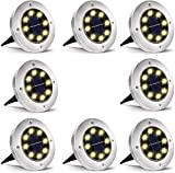 Solar Ground Lights,Disk Lights Solar Powered - 8 LED ,Outdoor in-ground Solar Lights
