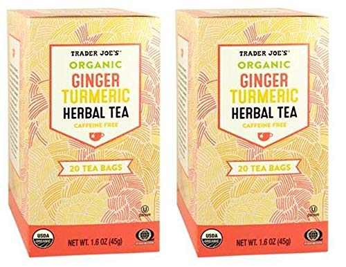 Trader Joes Organic Ginger Turmeric Herbal Tea 20 envelopes each (Pack of 2)