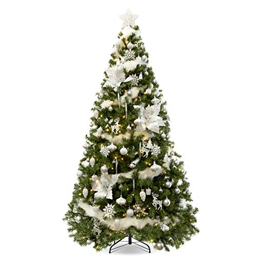 WBHome 6FT Pre-lit Artificial Christmas Tree with Ornaments, Snow White Decorated Christmas Tree Decorations Including 6 Feet Full Tree, 100pcs Ornaments and 300 Clear Lights
