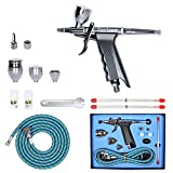 Gocheer Professional Airbrush Paint Sprayer Action Spray Gun Single-Action Trigger with Hose 3 Tips 2 Cups for...