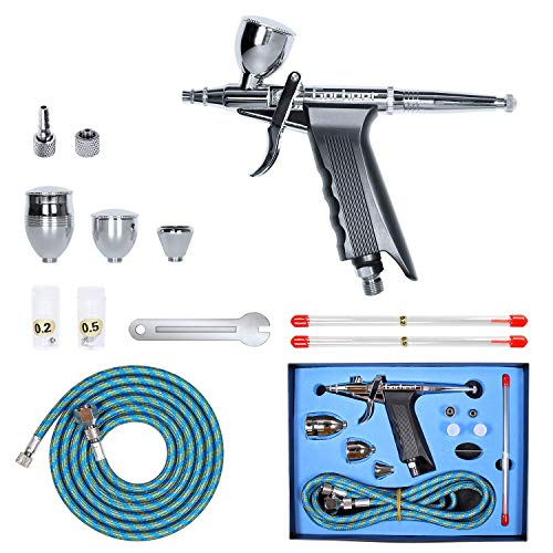 Gocheer Professional Airbrush Paint Sprayer Action Spray Gun Single-Action Trigger with Hose 3 Tips 2 Cups for Art Painting Tattoo Manicure Spray Model Air Brush Nail Tool