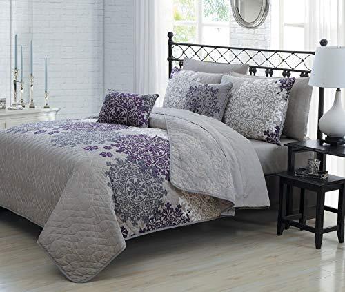 Geneva Home Fashion Avondale Manor 9 Piece Amber Quilt Set, King, Plum, AMB-9QT-KING-GH-PL