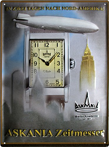 Askania Zeitmesser Berlin geprägt Reklame Blechschild 30x40 Blech 3040M01