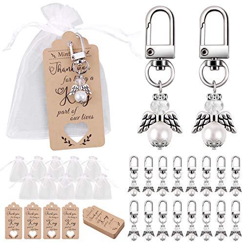 Juego de 35 paquetes de favor para bodas, Minterest llaveroMini Angel de plata + etiqueta de agradecimiento Kraft + bolsa de dulces con cordón para de boda rústicas Regalo de devolución de fiesta