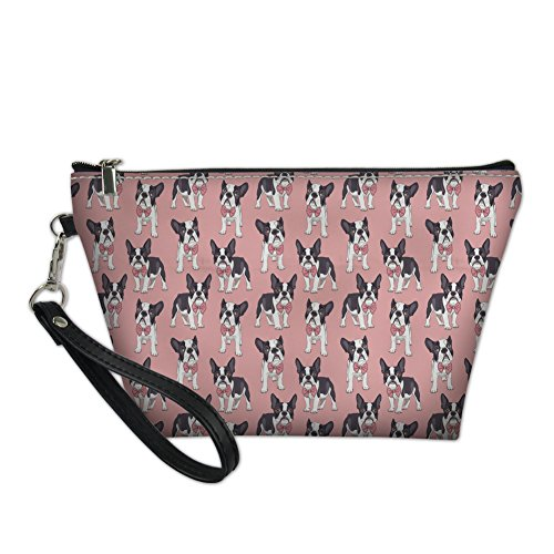 PZZ BEACH Boston Terrier Makeup Bag,Cosmetic Bag with Zipper,Pu Toiletry/Travel Bag for Women,Storage Bag for Brushes Accessories Collection