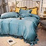 juego de fundas de edredón y de almohada de microfibra,Lavado de agua de verano Seda de hielo Silida Simple Color sólido es la ropa de cama de cuatro piezas de manga-B_Cama de 2.0m (4 piezas)