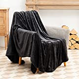 TOONOW Fleece Blanket Fuzzy Plush Throw Blanket 50' x 60', Super Soft Fluffy Bed Blanket Geometric Pattern Comfy Microfiber Flannel Blankets for Couch, Bed, Sofa, Black