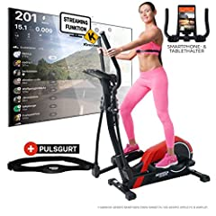 Miweba Sports Crosstrainer MC300 Stepper Ellipsentrainer - Commande d'application - 21 kg masse d'inertie - Sangle - Frein magnétique (Rouge Noir)