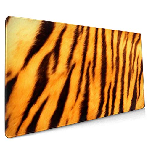 Langes Mauspad (89,9 x 39,9 cm) mit schönem Tigerfell und bunter Textur, orange, Schreibtischunterlage, rutschfeste Unterseite, wasserabweisend, für Arbeit und Gaming, Off