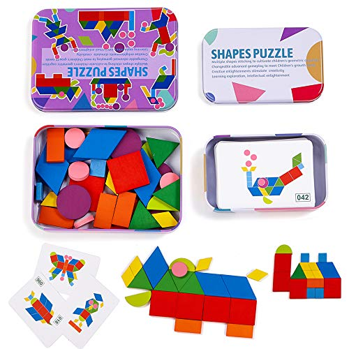 LiKee Wooden Pattern Blocks Jigsaw Puzzle Sorting and Stacking Games Montessori Educational Toys for...
