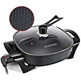 HUIDANGJIA Electric Skillet, Roast, Fry and Steam,Heat Resistant Handles ,12' Deep Dish Nonstick Frying Pan with Tempered Glass Lid ,1360W Electric Griddle,Black