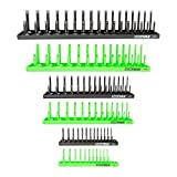 OEMTOOLS 22233 6 Piece Socket Tray Organizer Set, Green and Black, Socket Rails, Holds 80 SAE & 90 Metric Sockets, 1/4', 3/8', & 1/2' Drive