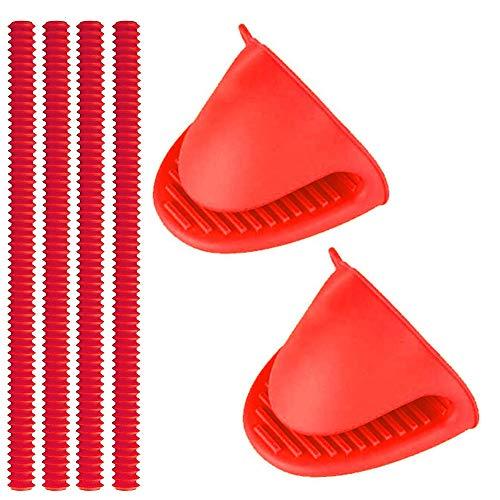 YuCool - Protectores para horno (4 unidades, silicona, 2 manoplas, 100 % sin BPA, aprobado por la FDA, resistente al calor, protege las quemaduras y las cicatrices, color rojo)