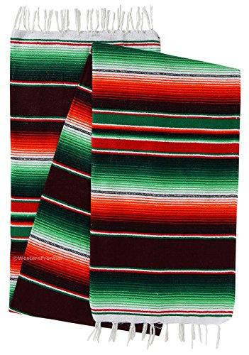 El Paso Designs mexikanischen SARAPE Kuscheldecken Extra Groß Bright & Colorful Saltillo SARAPE Decke 213,4x 121,9cm, acryl, burgunderfarben, 4ft X 7 Ft